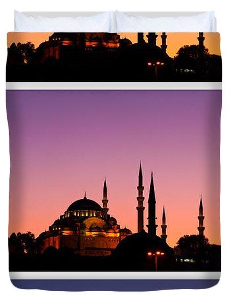 Suleymaniye Sundown Triptych 03 Duvet Cover by Rick Piper Photography