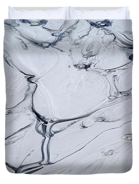 Sulphur Caldron Mud Art Yellowstone Duvet Cover by Bruce Gourley