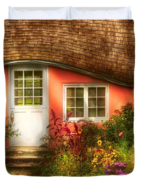 Summer - Cottage - Little Pink Play House Duvet Cover by Mike Savad