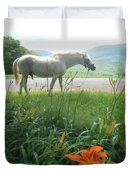 Summer Day Memories with The Paso Fino Stallion Duvet Cover by Patricia Keller