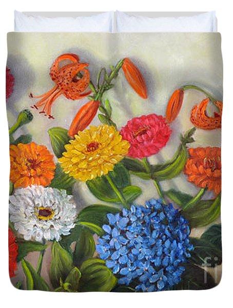Summer Flowers Duvet Cover by Randol Burns