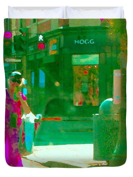 Summer Heatwave Too Hot To Walk Lady Hailing Taxi Cab At Hogg Hardware Rue Sherbrooke Carole Spandau Duvet Cover by Carole Spandau