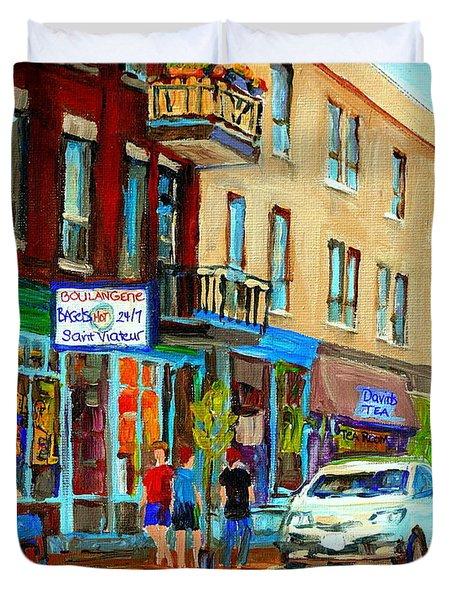 Summer On Saint Viateur Street Strolling By The Bagel Shop And David's Tea Room  Montreal City Scene Duvet Cover by Carole Spandau