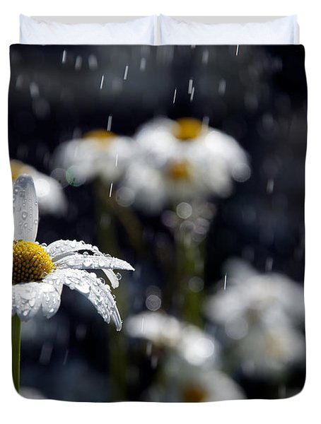 Summer Showers Haiku Duvet Cover by Lisa Knechtel