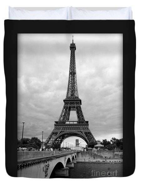 Summer Storm Over The Eiffel Tower Duvet Cover by Carol Groenen