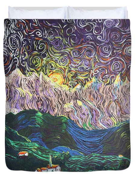 Sun And Moon Night Duvet Cover by Stefan Duncan