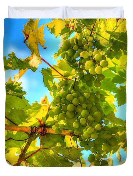Sun Kissed Green Grapes Duvet Cover by Eti Reid