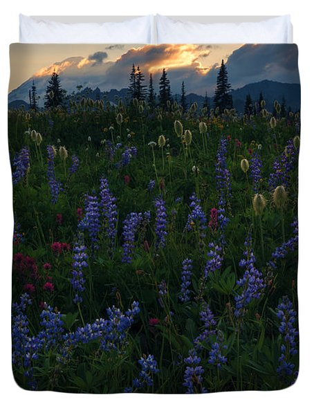 Sunbeams Over Rainier Duvet Cover by Mike  Dawson