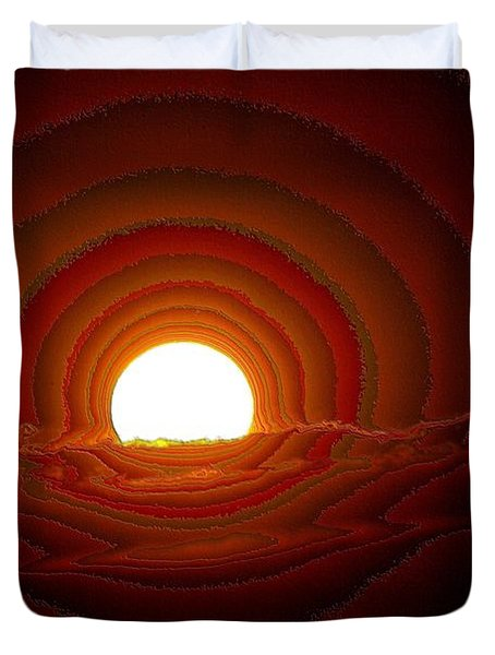 Sunfall Behind The Mountains Duvet Cover by Jeff Swan