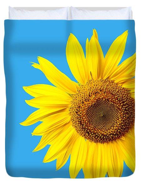 Sunflower Blue Sky Duvet Cover by Edward Fielding
