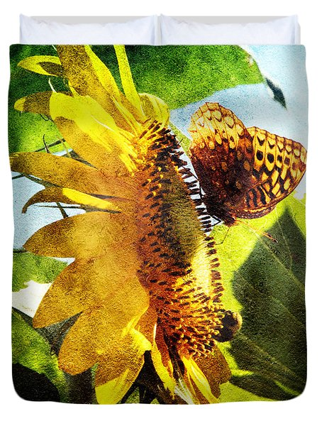 Sunflower Butterfly And Bee Duvet Cover by Andee Design