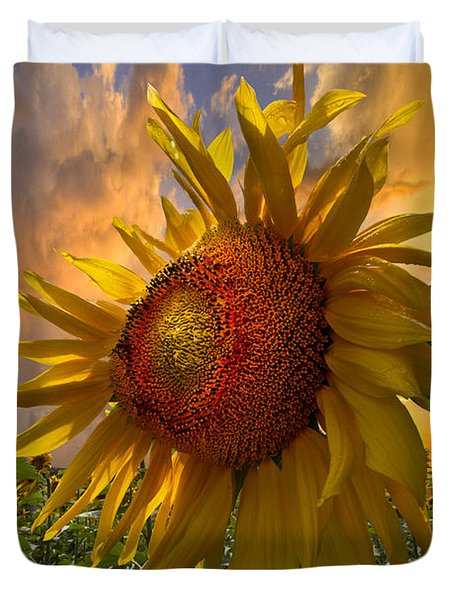 Sunflower Dawn Duvet Cover by Debra and Dave Vanderlaan