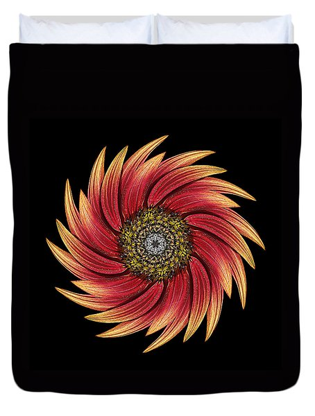 Sunflower Moulin Rouge Ix Flower Mandala Duvet Cover by David J Bookbinder