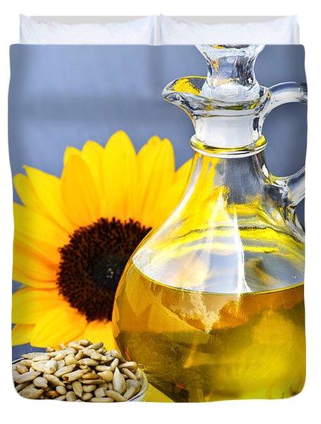 Sunflower oil bottle Duvet Cover by Elena Elisseeva