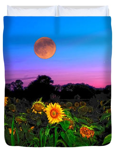 Sunflower Patch And Moon  Duvet Cover by Randall Branham