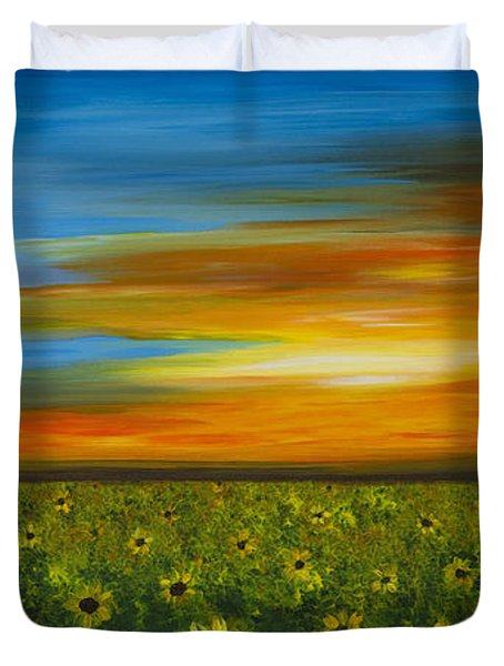 Sunflower Sunset - Flower Art By Sharon Cummings Duvet Cover by Sharon Cummings