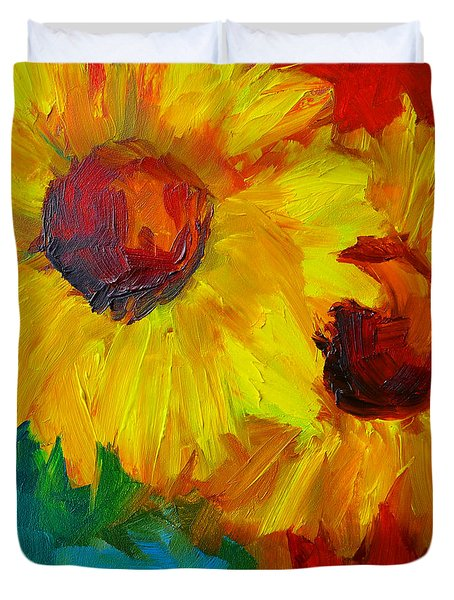 Sunflowers Girasoles Still Life Duvet Cover by Patricia Awapara