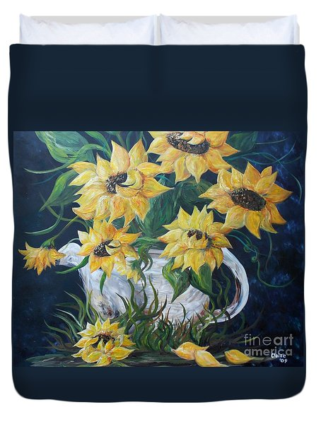 Sunflowers in an Antique Country Pot Duvet Cover by Eloise Schneider