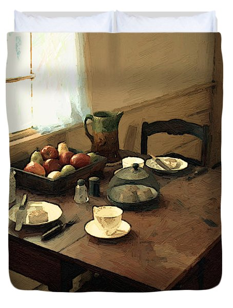 Sunlight On Dining Table Duvet Cover by RC deWinter