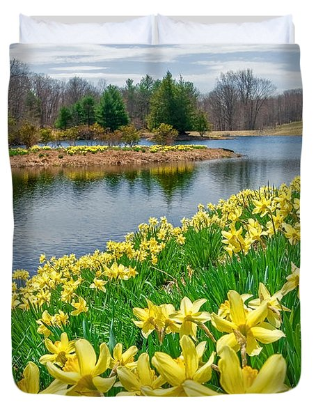 Sunny Daffodil Duvet Cover by Bill Wakeley