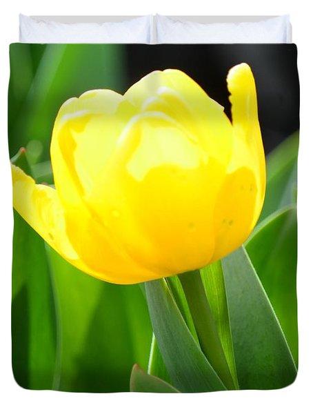 Sunny Yellow Tulip Duvet Cover by Maria Urso