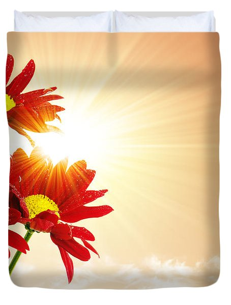 Sunrays Flowers Duvet Cover by Carlos Caetano