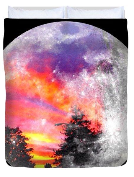 Sunrise And Full Moon Duvet Cover by Anne Thurston