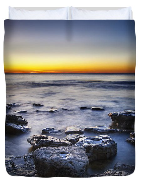 Sunrise At Cave Point Duvet Cover by Scott Norris