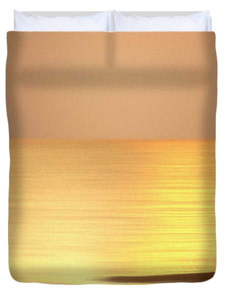 Sunrise At Topsail Island Panoramic Duvet Cover by Mike McGlothlen
