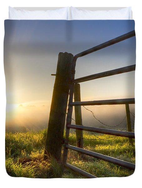 Sunrise  Gate Duvet Cover by Debra and Dave Vanderlaan