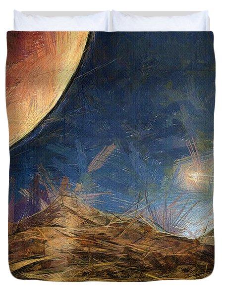 Sunrise on Space Duvet Cover by Ayse Deniz