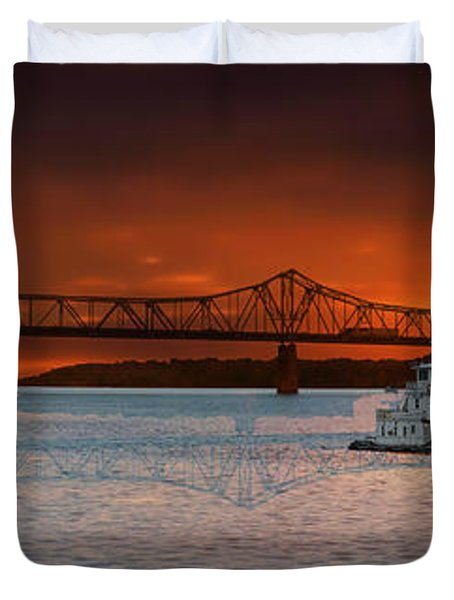 Sunrise On The Illinois River Duvet Cover by Thomas Woolworth