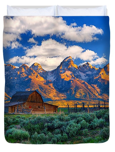 Sunrise on the Tetons Limited Edition Duvet Cover by Greg Norrell