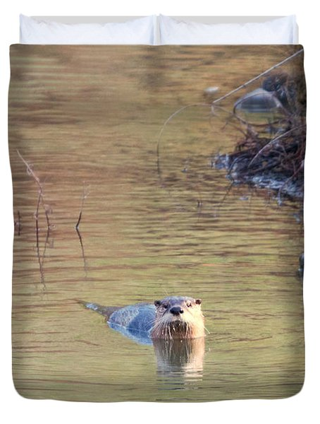 Sunrise Otter Duvet Cover by Mike Dawson