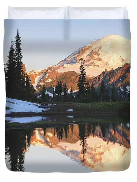 Sunrise Over A Small Reflecting Pond Duvet Cover by Stuart Westmorland
