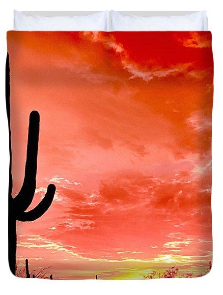 Sunrise Saguaro National Park Duvet Cover by Bob and Nadine Johnston