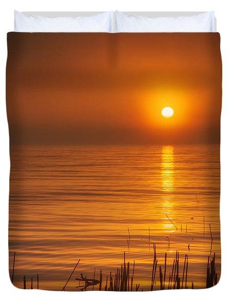 Sunrise Through The Fog Duvet Cover by Scott Norris