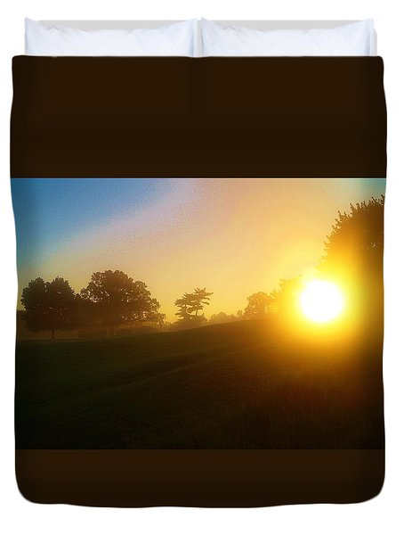 Sunrising Over The Club House Duvet Cover by Daniel Thompson