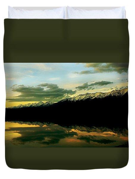 Sunset 1 Rainy Lake Duvet Cover by Janie Johnson