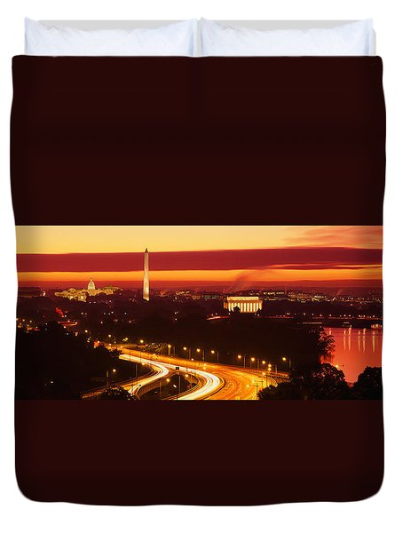 Sunset, Aerial, Washington Dc, District Duvet Cover by Panoramic Images