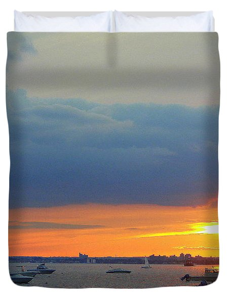 Sunset And Blue Clouds Duvet Cover by Dora Sofia Caputo Photographic Art and Design