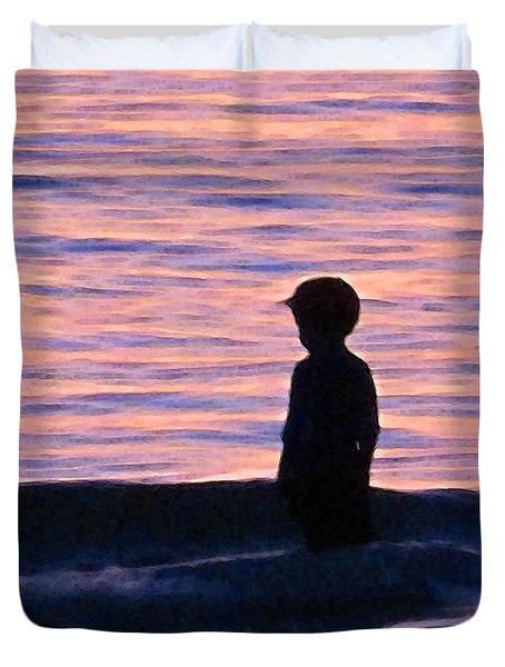 Sunset Art - Contemplation Duvet Cover by Sharon Cummings