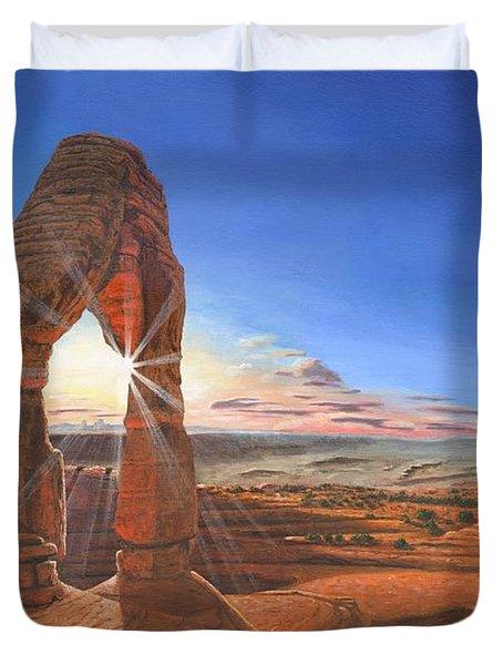 Sunset At Delicate Arch Utah Duvet Cover by Richard Harpum