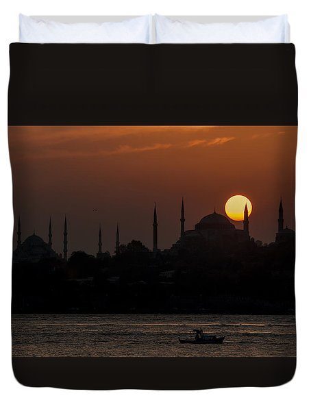 Sunset At Historical Peninsula In Istanbul Duvet Cover by Ayhan Altun