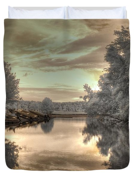 Sunset At The Boathouse Duvet Cover by Jane Linders