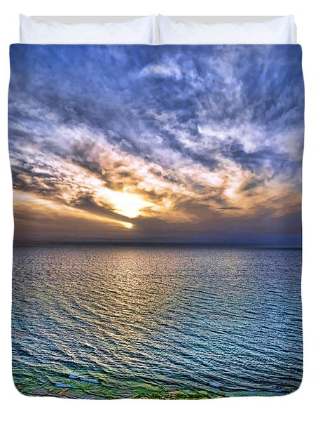 sunset at the cliff beach Duvet Cover by Ron Shoshani