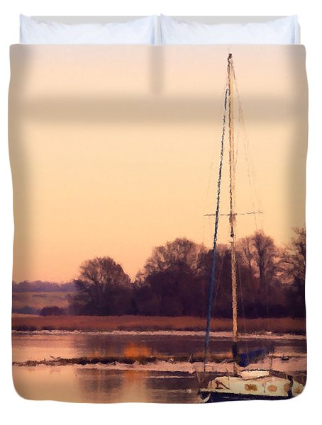 Sunset At The Creek Duvet Cover by Pixel Chimp