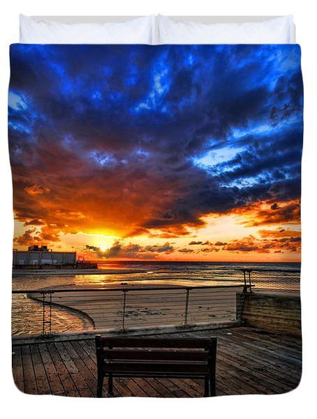 sunset at the port of Tel Aviv Duvet Cover by Ron Shoshani