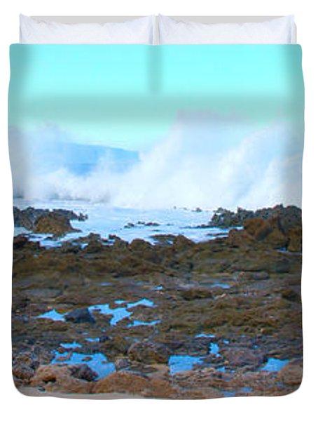 Sunset Beach Crashing Wave - Oahu Hawaii Duvet Cover by Brian Harig