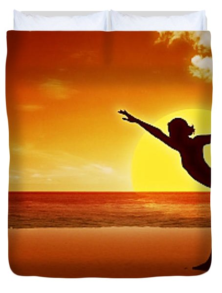 Sunset Beach Yoga Duvet Cover by M and L Creations